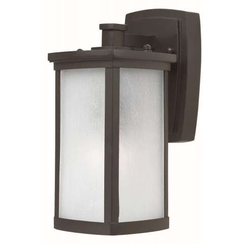 Terrace 1-Light Small Outdoor Wall in Bronze w/Frosted Seedy Glass
