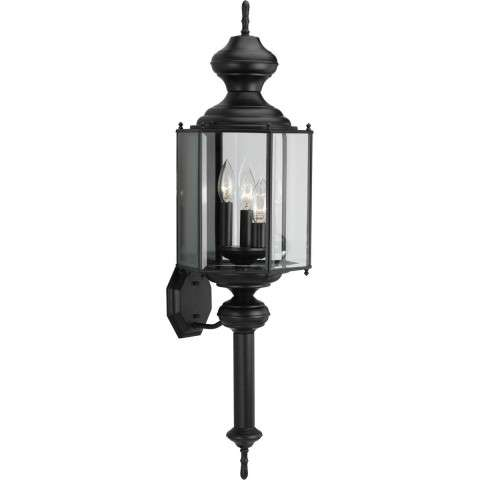 Progress P5731-31 Three-light wall lantern in Black finish with clear beveled glass.