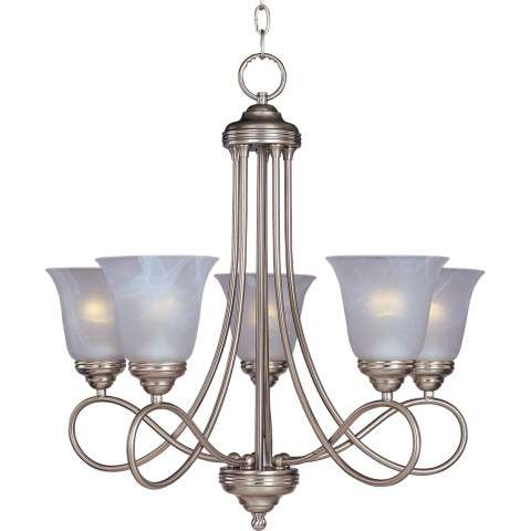 Maxim 11044MRSN Nova 5-Light Chandelier in Satin Nickel with Marble glass.