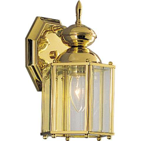 Progress P5756-10 One-light wall lantern in Polished Brass finish with clear beveled glass.