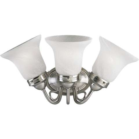 Progress P3188-09EBWB Three-light bath bracket in Brushed Nickel finish with etched alabaster glass.