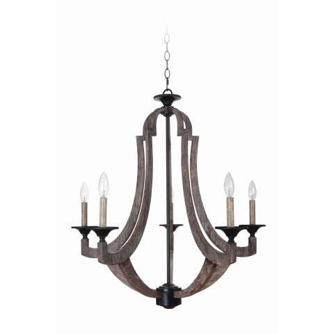 Craftmade Exteriors Winton - Weathered Pine 5 Light Chandelier in Weathered Pine