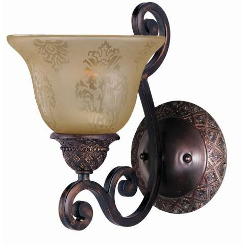 Maxim 11246SAOI Symphony 1-Light Wall Sconce in Oil Rubbed Bronze with Screen Amber glass.