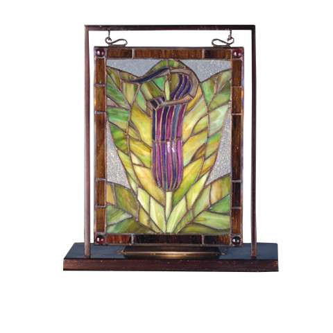 Meyda Tiffany 68552 Jack-In-The-Pulpit Lighted Mini Tabletop Window in Copperfoil finish