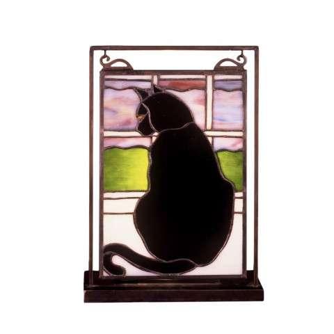 Meyda Tiffany 56834 Cat In Window Lighted Mini Tabletop Window in Black finish