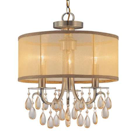 Crystorama 5623-AB Antique Brass Chandelier Accented with Etruscan Smooth Oyster crystals and Gold Silk Shimmer Shade