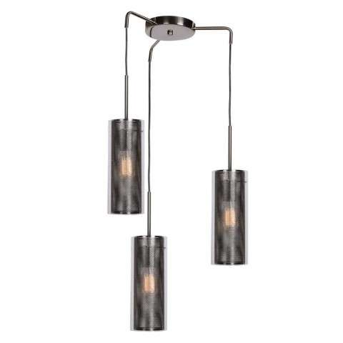Multis 3-Light Encaged Glass Pendant in Black Chrome (BCH) with Clear (CLR) Diffuser
