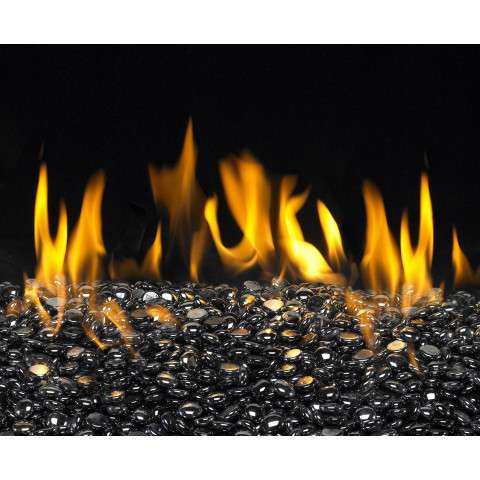 Black Pearl Fireplace Glass Gems - 10lb bag