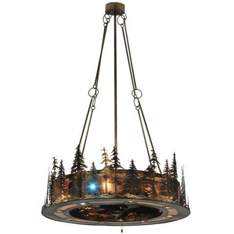 """Meyda 48"""" Tall Pines Chandel-Air w/Up/Downlight/LED Spot in Antique Copper and Silver Mica w/Oil Bronze Fan"""