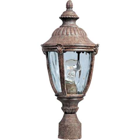 Maxim 3180WGET Morrow Bay Cast 1-Light Outdoor Pole/Post Lantern in Earth Tone with Water Glass glass.