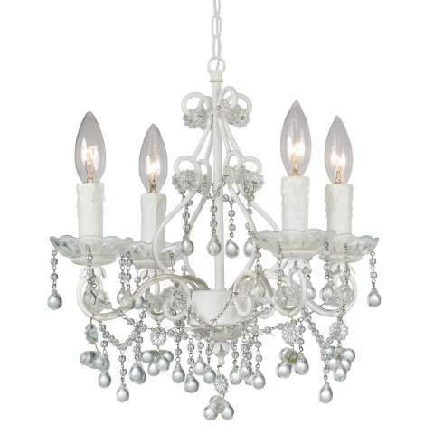 Crystorama 4514-WW-CLEAR Paris Flea Market Mini Chandelier - Wet White finish - Adorned with Crystal Accents