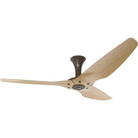 Haiku Low Profile 60 Inch DC Motor Wi-Fi Smart Ceiling Fan In Oil Rubbed Bronze with Caramel Bamboo Blades.