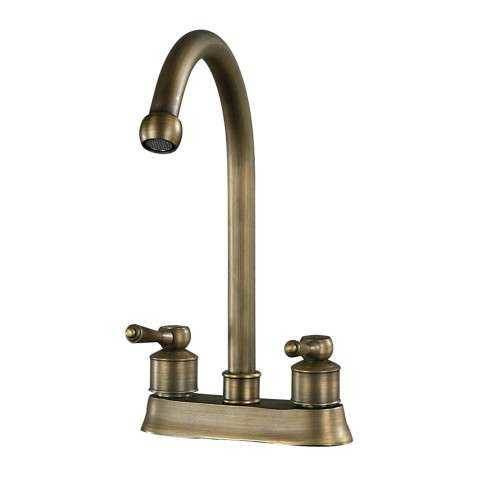 "Faucet - 9.5"" 2 Handle Centre Set Antique Brass Faucet - Metal"