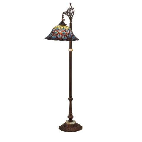 Tiffany Peacock Feather Bridge Arm Floor Lamp