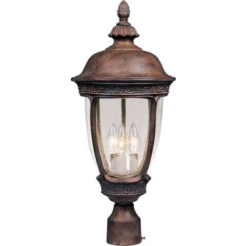 Maxim 40460CDSE Knob Hill VX 3-Light Outdoor Pole/Post Lantern in Sienna with Seedy glass.