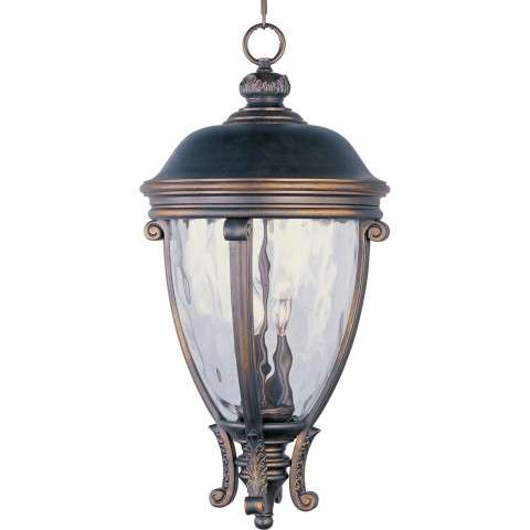 Maxim 41429WGGO Camden VX 3-Light Outdoor Hanging Lantern in Golden Bronze with Water Glass glass.