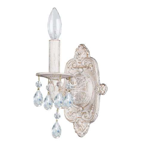 Sutton Collection Wall Sconce in Antique White w/Swarovski Elements Crystal.
