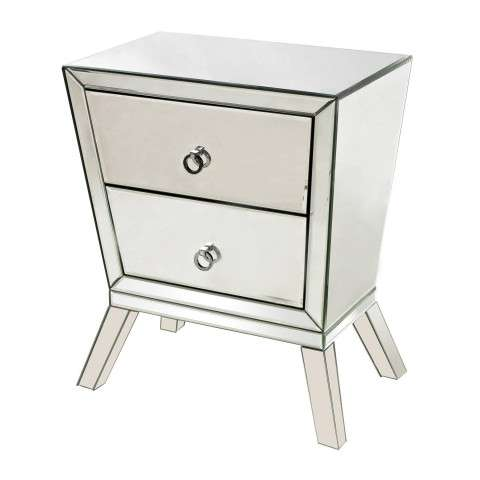 Side Table - Mirrored Side Cabinet With 2 Drawers - Glass and Mdf