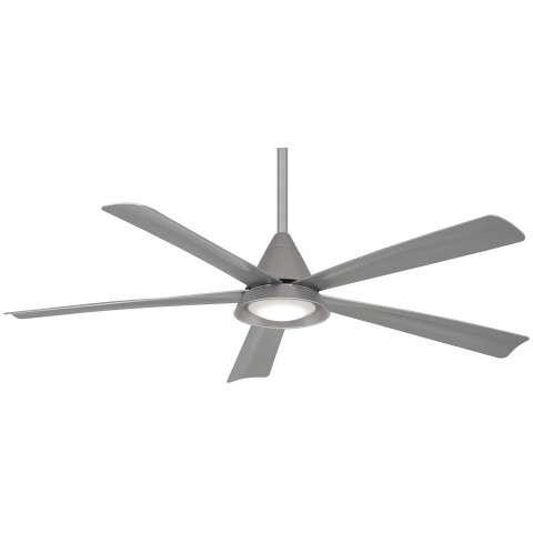 """Cone 54"""" LED Ceiling Fan In Silver"""