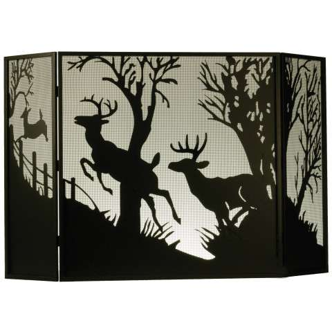 "Deer On The Loose Folding Fireplace Screen - 62"" Wide x 40"" Tall"