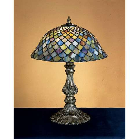 Meyda Tiffany 26673 Tiffany Fishscale Accent Lamp in Mahogany Bronze finish