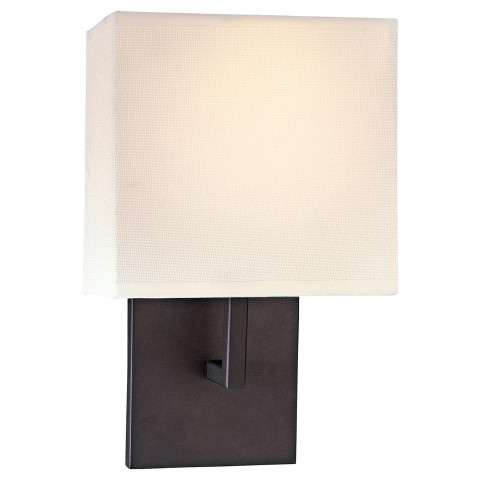 George Kovacs P470-617 Wall Sconce in Bronze finish with Off White Linen
