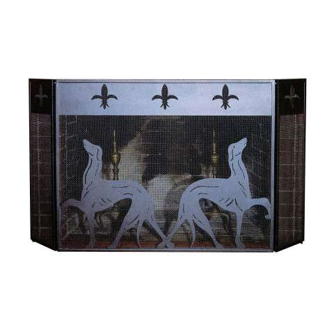 "Greyhound Folding Screen Black - 50"" Wide x 30"" Tall"