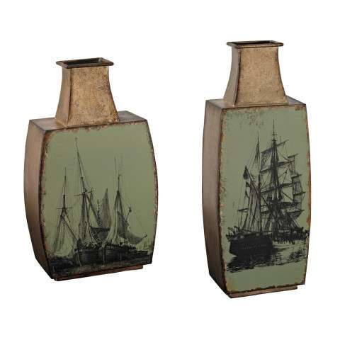 Vase - Set Of 2 Metal Vases With Ship Print - Metal