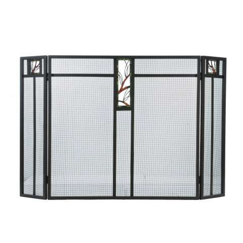 "Pine Branch Glass Fireplace Screen - 52"" Wide x 34"" Tall"