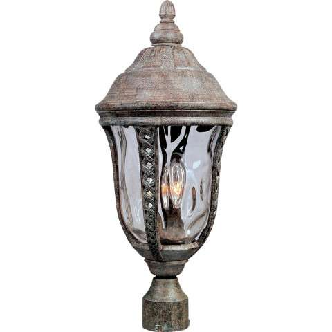 Maxim 3101WGET Whittier Cast 3-Light Outdoor Pole/Post Lantern in Earth Tone with Water Glass glass.