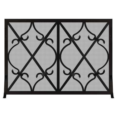 Custom Single Panel Fireplace Screen - Banded Scroll
