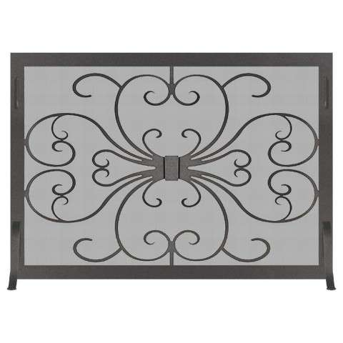 Custom Single Panel Fireplace Screen - Victorian Scroll