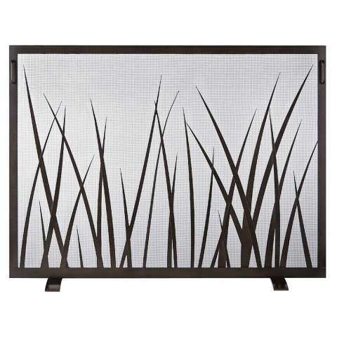 Custom Single Panel Fireplace Screen - Saw Grass
