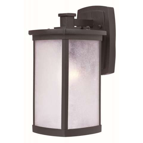 Terrace 1-Light Medium Outdoor Wall in Bronze w/Frosted Seedy Glass