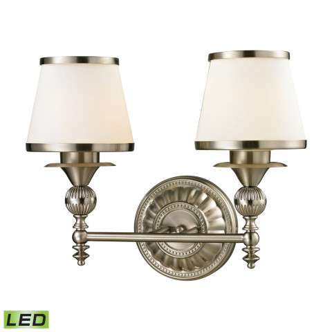 Smithfield Collection 2 light bath in Brushed Nickel - LED - 800 Lumens (1600 Lumens Total) With …