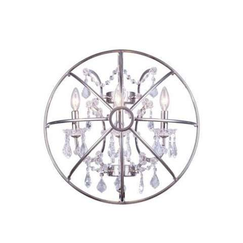 "1130 Geneva Collection Wall Lamp W:21"" H:21"" E10.5"" Lt:3 Polished nickel Finish (Royal Cut  Crystals)"
