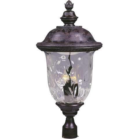 Maxim 3421WGOB Carriage House DC 3-LT Outdoor Pole/Post Lantern in Oriental Bronze with Water Glass glass.