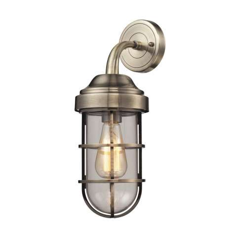 Seaport 1 Light Sconce In Antique Brass