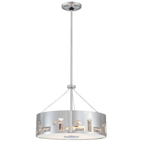George Kovacs P1092-077 4 Light Pendant in Chrome finish with Perforated Steel Shade w/Crystals & Clear/Inside Etched Glass Diffuser