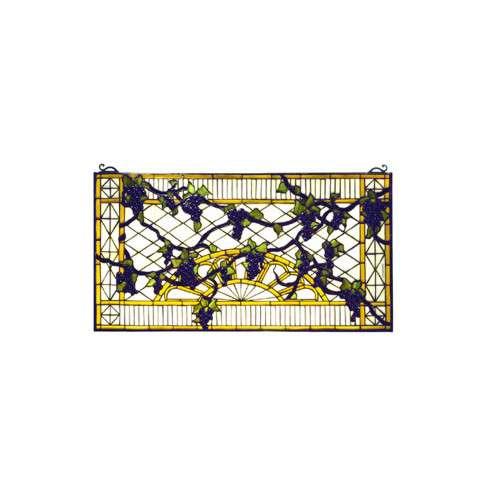Meyda Tiffany 79789 Grape Diamond Trellis Stained Glass Window