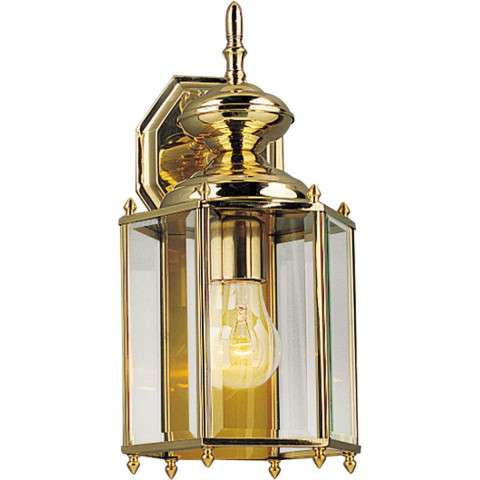 Progress P5832-10 One-light wall lantern in Polished Brass finish with clear beveled glass.