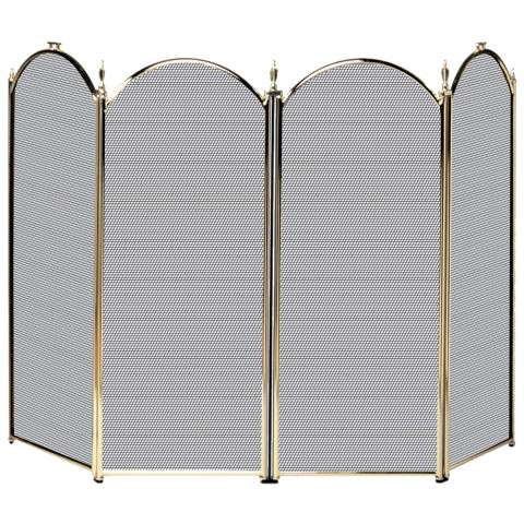 "4 Fold Polished Brass Screen - 52"" Wide x 32"" Tall"