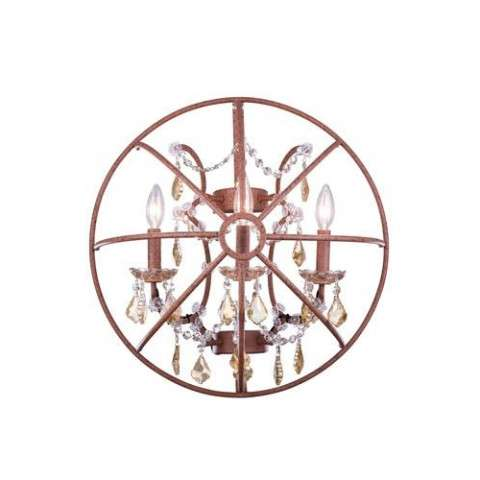 "1130 Geneva Collection Wall Lamp W:21"" H:21"" E10.5"" Lt: Rustic Intent Finish (Royal Cut Golden Teak  Crystals)"