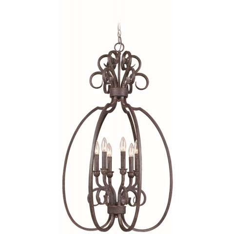 Craftmade Exteriors Sheridan - Forged Metal 6 Light Foyer in Forged Metal