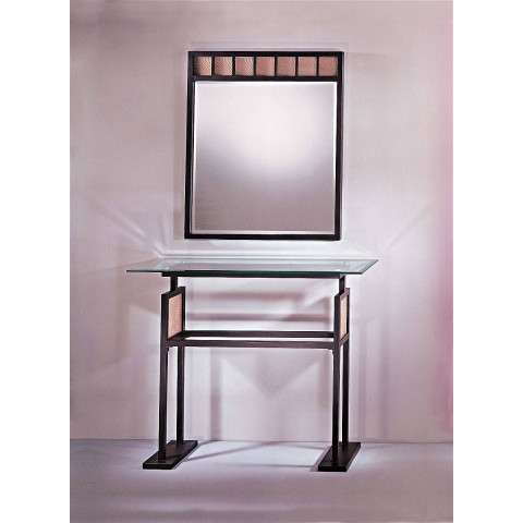 George Kovacs P5188-615B Console Table in Dorian Bronze™ finish with Ripple Glass
