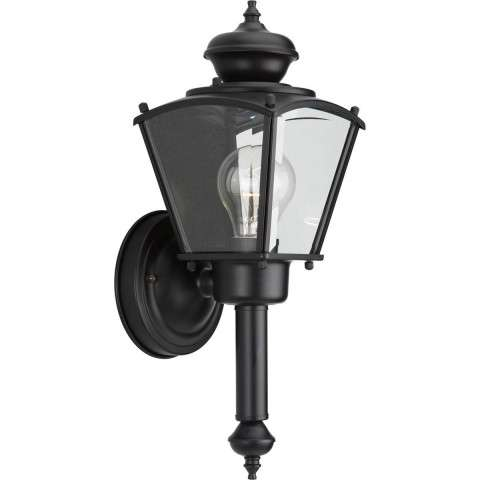 Progress P5846-31 One-light wall lantern in Black finish with clear beveled glass.