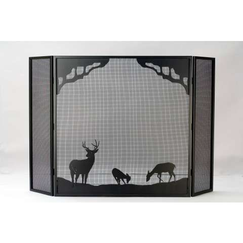 "Deer At Dawn Folding Fireplace Screen - 62"" Wide x 40"" Tall"