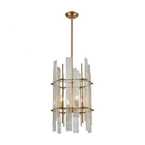Mercury Ascendant Chandelier In Aged Brass With Mercury Glass