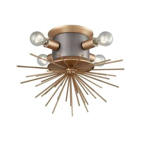 Lucy Spike Flush Mount In Antique Gold
