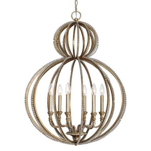 Garland 6 Light Distressed Twilight Crystal Beads Chandelier